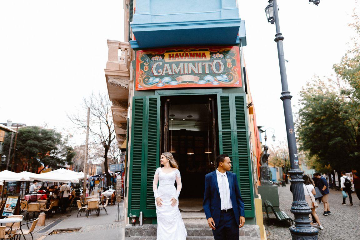 Noiva no Gaminito em Buenos Aires