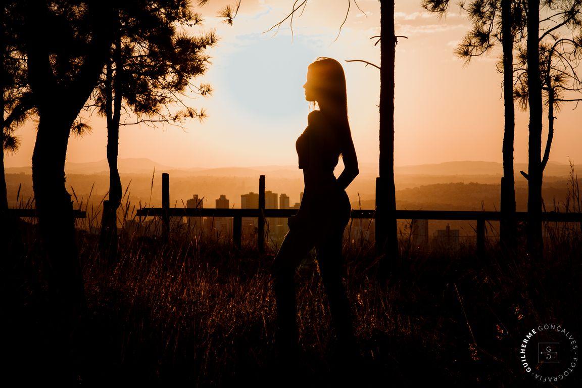 silhueta da debutante 15 anos com por do sol